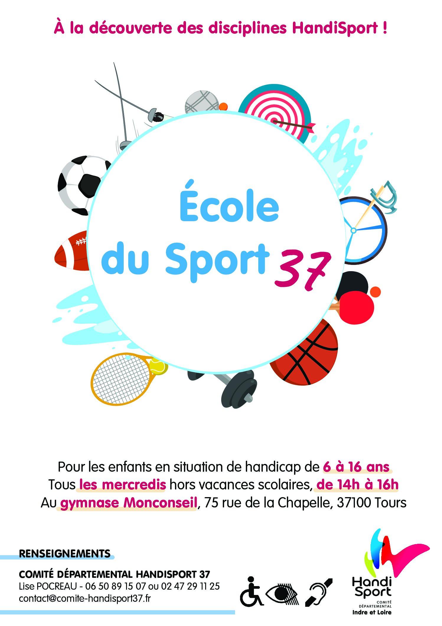 ECOLE DU SPORT 37 A LA DECOUVERTE DES DISCIPLINES HANDISPORT POUR LES ENFANTS DE 6 A 16 ANS